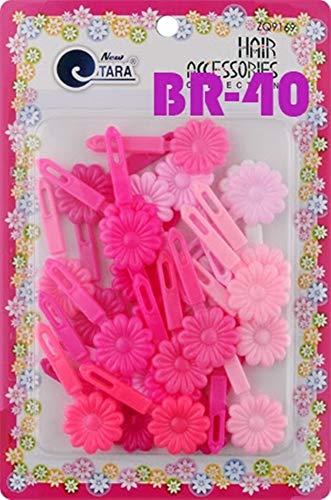 Tara Girls Self Hinge Plastic Mulit Design Hair Barrettes Selection (Flower Pink Mix)