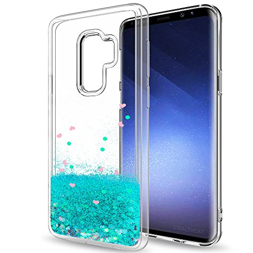Samsung Galaxy S9 Plus Glitter Case (Not Fit S9) for Girls Women,LeYi Sparkle Shiny Bling Liquid Clear TPU Protective Phone Case for Galaxy S9 Plus / S9 + ZX Turquoise