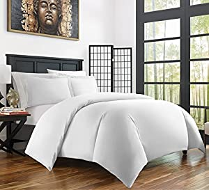 Zen Bamboo Ultra Soft 3-Piece Rayon Derived From Bamboo Duvet Cover Set - Hypoallergenic and Wrinkle Resistant - Full/Queen - White