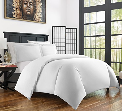 Zen Bamboo Ultra Soft 3-Piece Bamboo King/Cal King Duvet Cover Set - Hypoallergenic and Wrinkle Resistant, White (White Duvet Cover King)