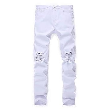 e491c756c0b Jeans pour Hommes Jean Slim en Denim déchiré et déchiré pour Hommes  Pantalon décontracté (Couleur