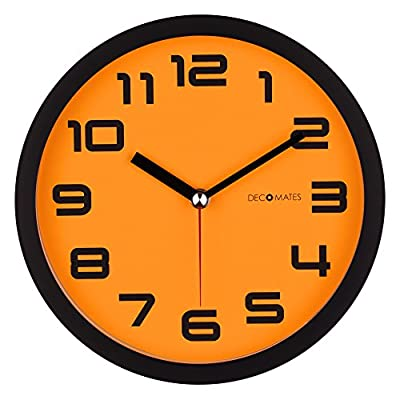 DecoMates Non-Ticking Silent Wall Clock - Color Block (Orange Pumpkin) - Non-ticking, silent clock Bright and colorful design Flat lens covers clock face to protect from dust and debris - wall-clocks, living-room-decor, living-room - 51OONSRE23L. SS400  -