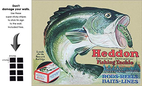 Shop72 - Heddon Fishing Tackle Tin Sign Retro Vintage Distrssed - with Sticky Stripes No Damage to Walls