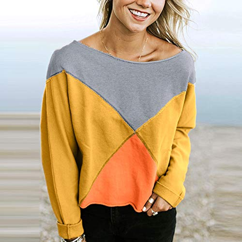 Rawdah Fashion Strapless Pullover Patchwork Blouse Sweatshirt T Yellow Women Long Shirt Sleeve rZUwrqB