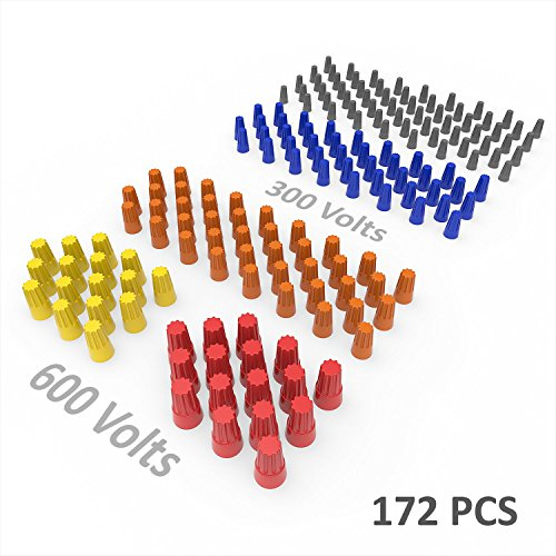 172PCS Electrical Wire Connectors Screw Terminals, W/Spring Insert Twist Nuts Caps Connection Assortment Set - Twist Wire Connectors