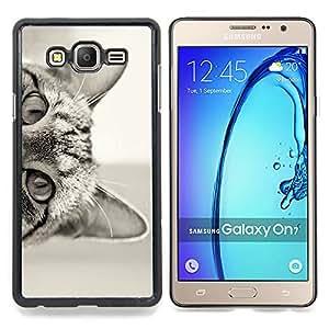 Eason Shop / Premium SLIM PC / Aliminium Casa Carcasa Funda Case Bandera Cover - Lindo gatito de pelo corto Negro - For Samsung Galaxy On7 O7