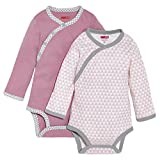 SkipHop Baby Girls' Petite Triangles Side-Snap Long Sleeve Bodysuit, Pink, 6 Months