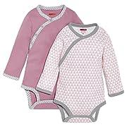Skip Hop Baby Girls' Petite Triangles Side-Snap Long Sleeve Bodysuit, Pink, 6 Months