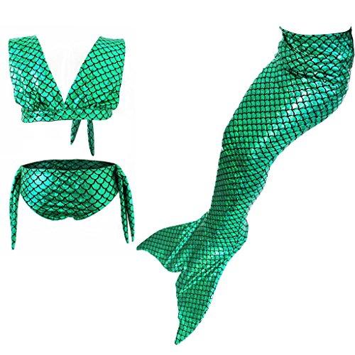 Highdas Kids Traje Bano Swimmable Cola Sirena Swimming Costumes Dress Cosplay Costume for Ninas Fancy Dress 3PCS Verde-GB01