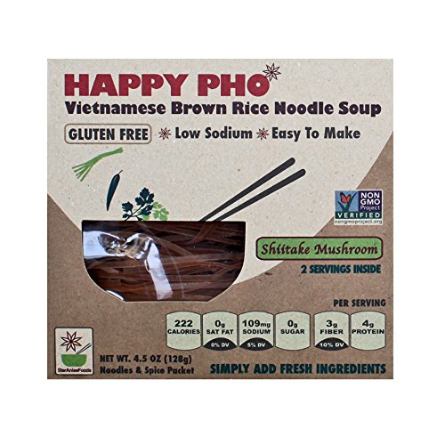 Star Anise Foods - NON GMO Gluten Free Vietnamese HAPPY PHO Shiitake Mushroom - 4.5 oz / 2 Servings per box, Pack of 6 boxes