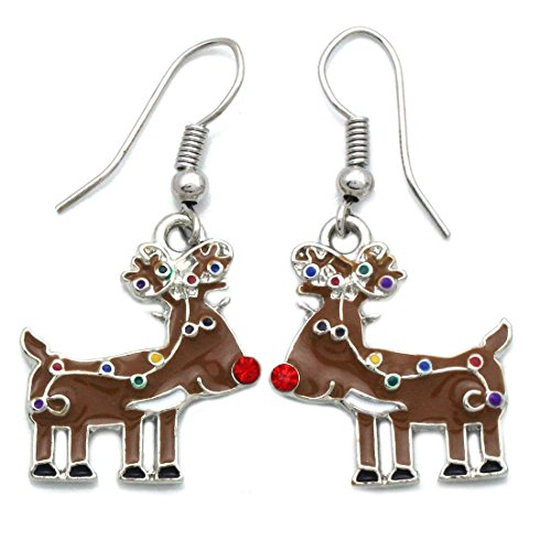 SoulBreezeCollection Christmas Santa Clause Penguin Polar Bear Charm Earrings Gift Stuffers (Reindeer 2)