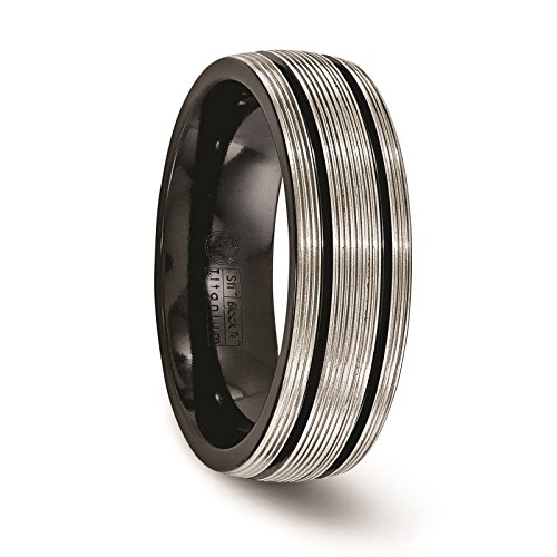Titanium Black Ti Grooves & Textured Lines Polished 7mm Wedding Ring Band Size 8.5 by Edward Mirell by Venture Edward Mirell Titanium Bands (Image #4)