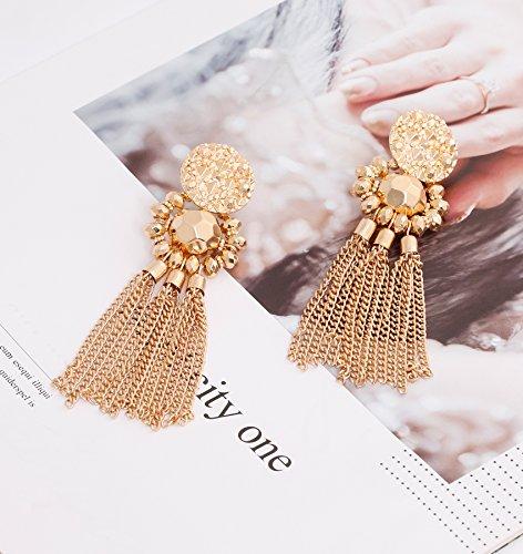Bohemian Statement Tassel Chandelier Drop Dangle Earrings with Cassandra Button Stud (gold) by LPON (Image #2)'