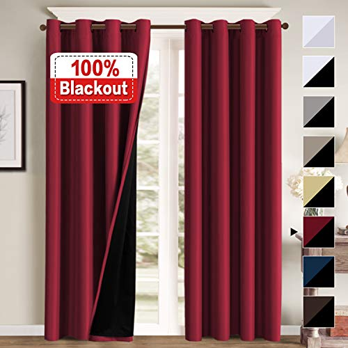 Glass Cardinals Night Light (100% Blackout Curtains for Bedroom Energy Saving Pair Curtains for Sliding Doors Thermal Insulated Blackout Curtains with Liner, Double Layer Lined Curtains 96 Inches Length, Cardinal Red)