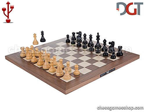 DGT USB Walnut e-Board with Classic pieces - Electronic chess by DGT