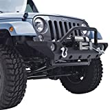 Restyling Factory Jeep Wrangler JK Black Front Bumper with D-Rings and Winch Plate