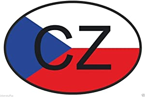 MFX Design Cz Czech Republic Country Code Oval with Flag Bumper Sticker Decal Laptop Sticker Decal Toolbox Sticker Decal Helmet Sticker Decal Vinyl - Made in USA 4 in. x 2.5 in.