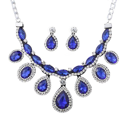 YAZILIND Women Teardrop Royal Blue Chunky Necklace Earring Wedding Jewelry Set for (Black Blue Jewelry)