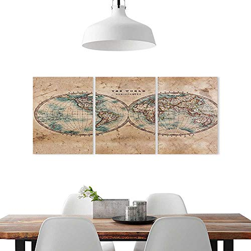 ture Home Decoration Frameless W32 x H48/3P, Art Home Decorations Wall DecorEarth Tones Decor Collection Old World Map from 1800s Geography History. ()
