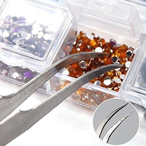 Anti-magnetic Stainless Steel Curved Tweezers Plier Tip Nail Art Tweezer Tool Rhinestones Gems Eyelash