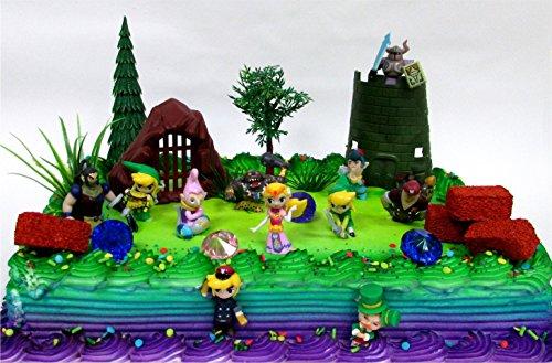 Legend of Zelda Birthday Cake Topper Set Featuring Link, Zelda, Phantom, Bryne, Anjean, Chancellor Cole, Big Blin, Alfonzo, Ferrus, Spirit Train and Unique Zelda Decorative Elements -
