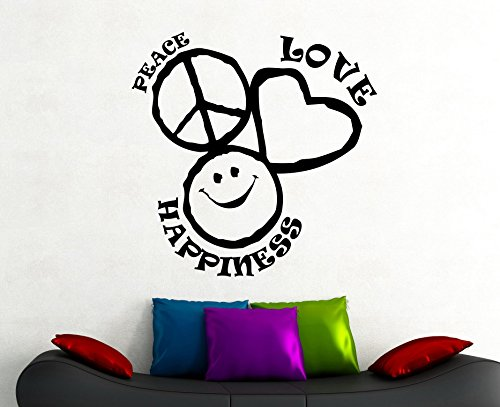 Peace Love Happiness Sign Wall Sticker Vinyl Decal Home I...