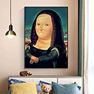 katingad Divertido lienzo de Mona Lisa gorda, figura clásica de Da Vinci, cuadro artístico de pared, póster ab