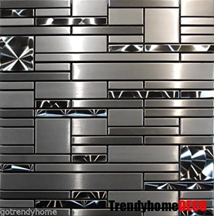 Sample Stainless Steel Metal Pattern Mosaic Tile Kitchen