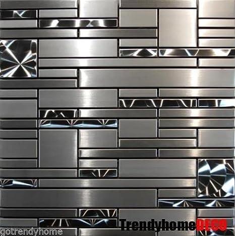 SAMPLE- Stainless Steel Metal pattern Mosaic Tile Kitchen ...