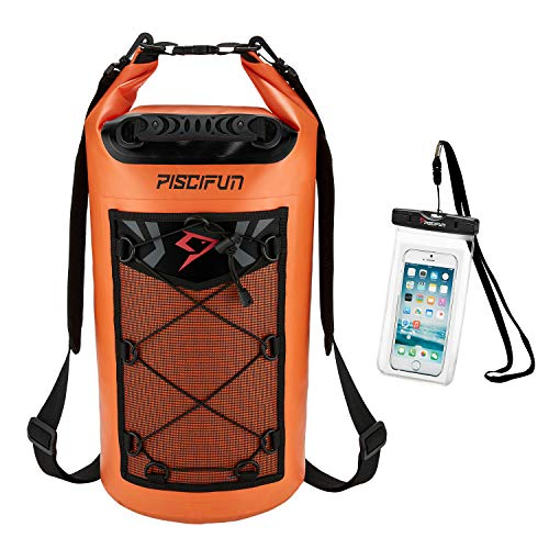 Piscifun Waterproof Dry Bag Backpack 10L 20L 30L 40L Floating Dry Backpack with Waterproof Phone Case for Water Sports…