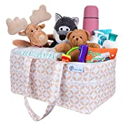 "Premium 3-Compartment Infant Diaper Caddy & Essentials Organizer, Ideal for The Car or The Nursery, Finally Organize Your Baby Accessories In One Convenient Place 14""x9""x7"