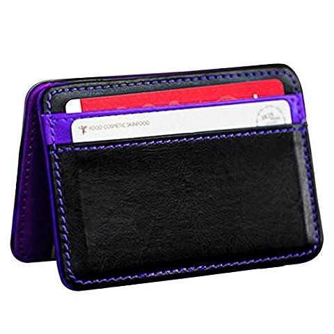 Bokeley Wallet, Mini Bifold Leather Wallet Card Holder Wallet Purse Money Clip, Magic,Purple