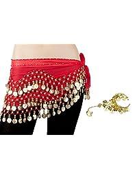 Bellylady Gold Coins Belly Dance Hip Scarf, Wholesale Dance Belt & Gypsy Bracelet-Red