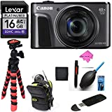Canon PowerShot SX720 HS (Black) Camera, Camera Case, Lexar 16GB UHS, Memory Card Wallet,DIGITALUNIVERSE Tripod, Cleaning Kit, Card Reader / Writer, Polaroid Screen Protector & Accessory Bundle