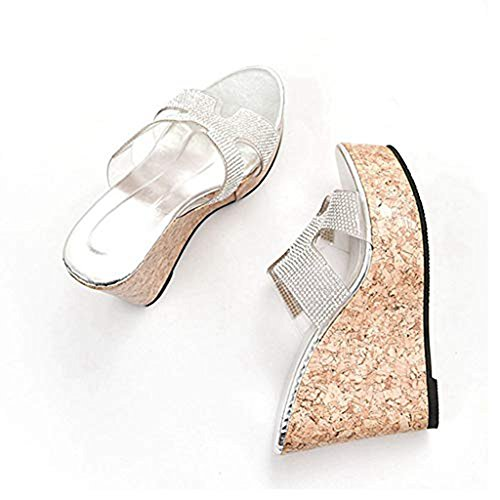 Dress Silvery Wedges Platform High T JULY Glitter on Slip Lightweight Comfy Sparkle Women's Heels Sequins Slippers xqOw1Zq