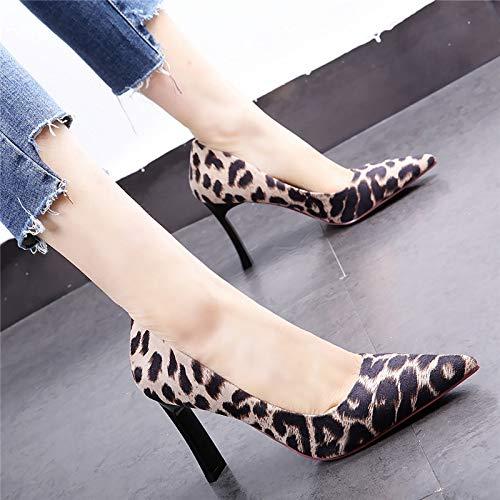 HOESCZS 33 Yards High High Yards Heels weiblich 19 Frühjahr neuen Spitzen Leoparden dick mit flachen Mund Wilde einzelne Schuhe Arbeitsschuhe e92d50