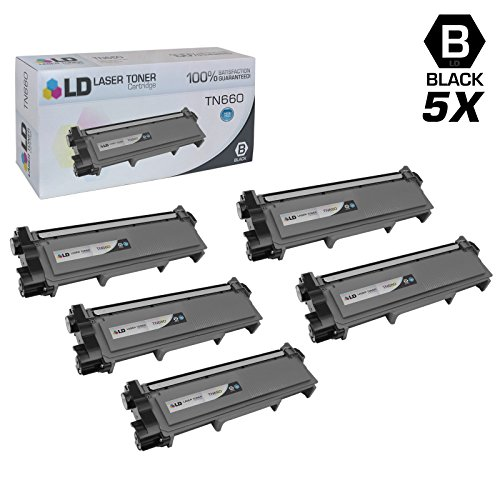 LD © Compatible Replacements for Brother TN660 5PK HY Black Laser Toner Cartridges for Brother DCP L2520DW, L2540DW, HL L2300D, L2320D, 2340DW, L2360DW, L2380DW, & MFC L2700DW, L2707DW, L2720DW, L2740DW