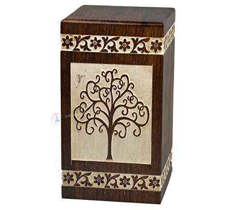 Amazon.com: STAR INDIA CRAFT Tree of Life Urns for Human Ashes Adult (11.25 x 6.25 x 6.25) | 250 Cu/In (Antique Rosewood Alter): Home & Kitchen