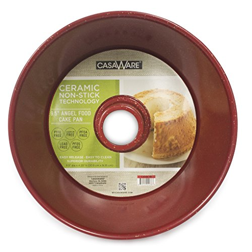 (casaWare Angel Food Cake Pan 9.5-inch (15-Cup) Ceramic Coated NonStick (Red - Granite))
