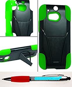Accessory Factory(TM) Bundle (the item, 2in1 Stylus Point Pen) HTC M8 One 2 Hybrid Case w Stand Green