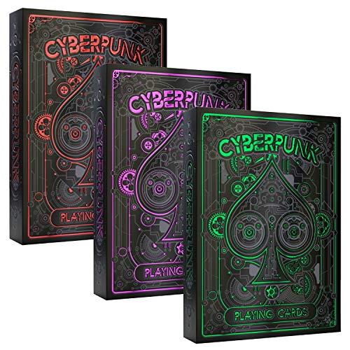 Cyberpunk Playing Cards 3-Deck Bundle: Buy Together and Save 15% On Cyberpunk Green & Cyberpunk Purple & Cyberpunk Red - Deck of Cards, Premium Card Deck, Cool Poker Cards