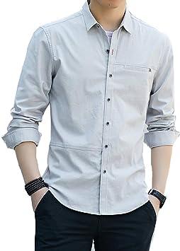Camisa de Hombre Nueva, Camisa de Manga Larga con Solapa Ajustada Camisa Casual de Color Sólido para Jóvenes: Amazon.es: Deportes y aire libre