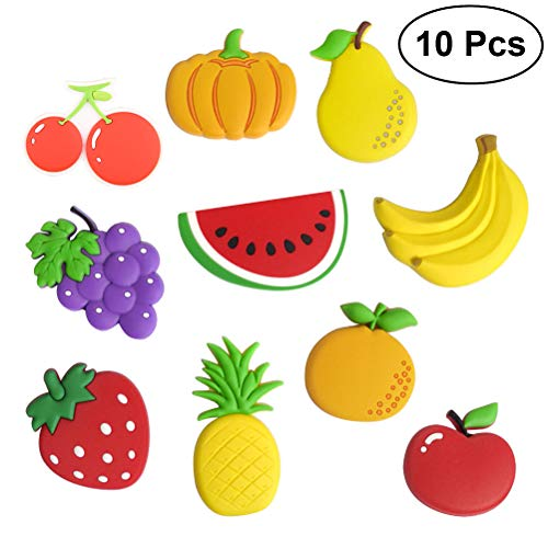 BESTONZON 10pcs Refrigerator Magnets Cute Cartoon Fruits Fridge Magnets Whiteboard Magnets for Home Kitchen Photo Office