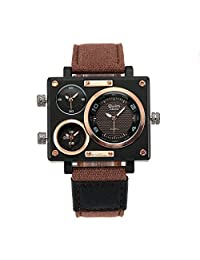 OULM 3595 (Brown) Good Quality Canvas Band Men's Military Sport Multi Time Zone Quartz Watch