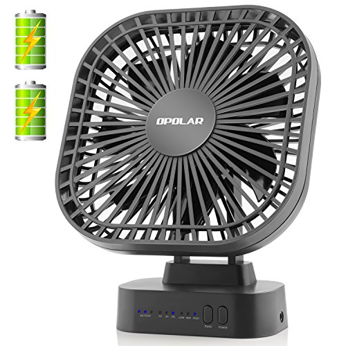 OPOLAR Battery Operated Desk Fan with Large Capacity of 5200mAh, 3 Speeds with Timer, 6 Blades, Super Quiet, Powered by USB or Rechargeable Battery, Perfect Small Personal Fan for Table & Outdoor