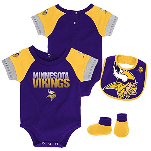 (Outerstuff NFL NFL Minnesota Vikings Newborn & Infant 50 Yard Dash Bodysuit, Bib & Bootie Set Regal Purple, 24 Months)