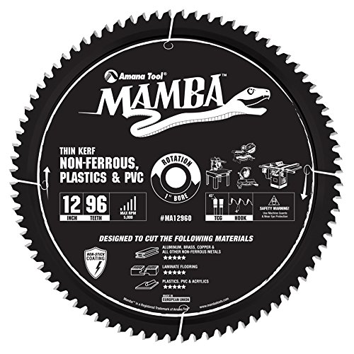 Amana Tool MA12960 Carbide Tipped Thin Kerf Laminate Flooring, Non-Ferrous, Plastic & PVC Cutting Contractor Series Mamba 12 Inch D x 96T, TCG, -6 Deg, 1 Bore Circular Saw Blade (Kerf Laminate Thin)