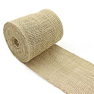 """CleverDelights 4"""" Burlap Ribbon - Wired Edge - 10 Yards - Natural Color - Jute Burlap Craft Decor Fabric"""
