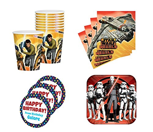 Star Wars Rebels Birthday Party Supplies Set Plates Napkins Cups Kit for 16 Plus Stickers
