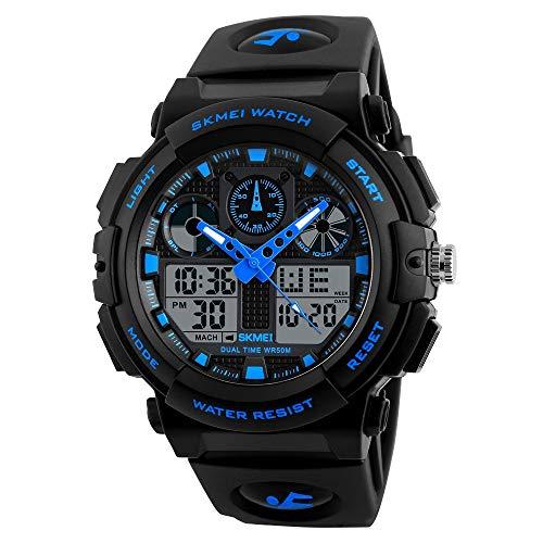 SKMEI Analogue – Digital Men's & Boy's Watch (Black Dial Black Colored Strap)